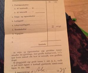 Kvittun fyrir hundaskatti frá 1938